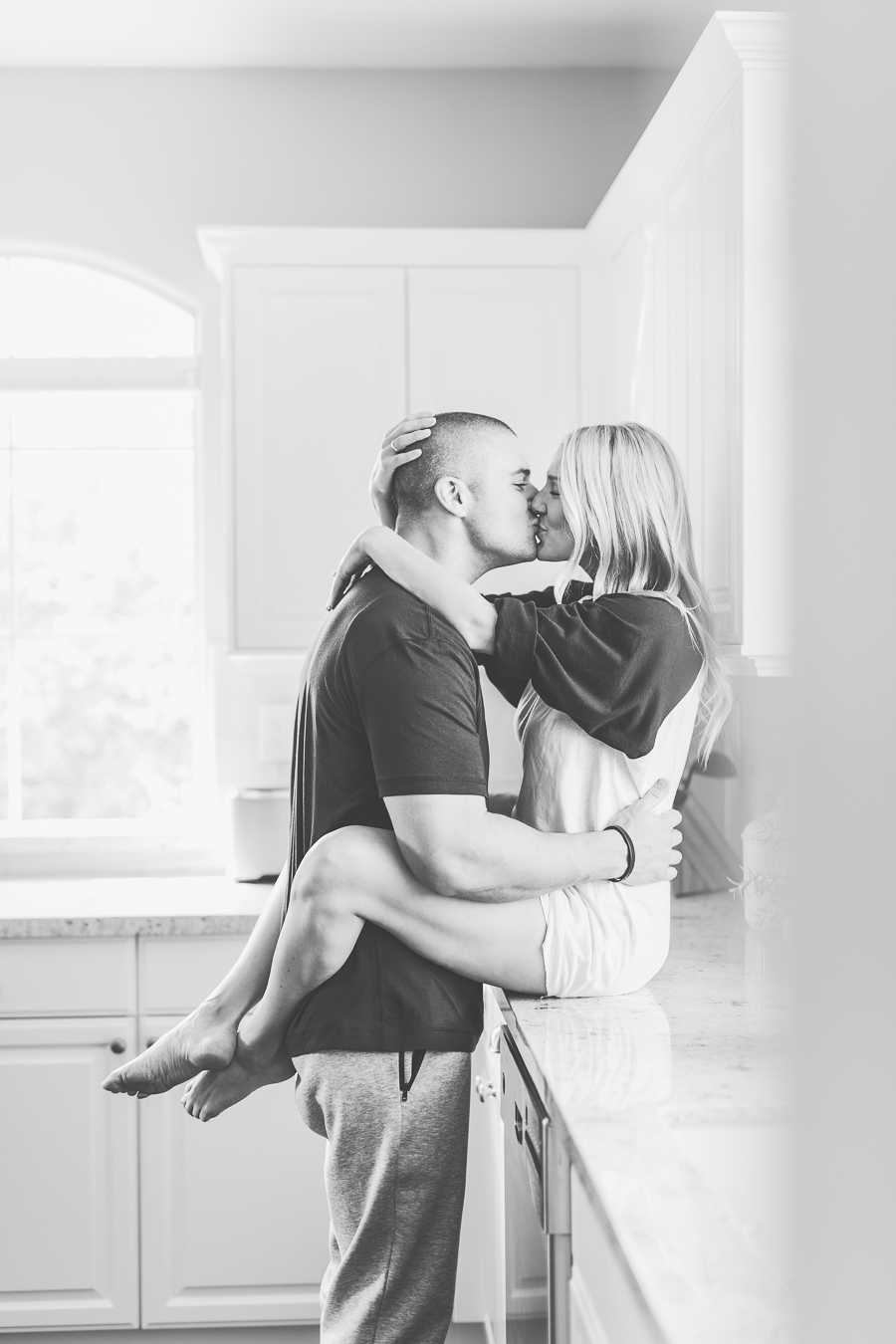 kisses on the kitchen counter